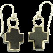 Chunky Onyx Sterling Filigree Cross Pierced Earrings