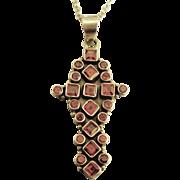 Bold Vintage Sterling Garnet Gemstone Pendant & 20 Inch Chain