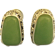 Stunning Ornate Sterling & Chalcedony Omega Pierced Earrings