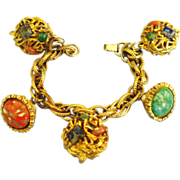 Chunky 1950's Glass & Faux Pearl Charm Bracelet