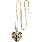 "Large Puffy Sterling Sapphire Heart Pendant with 24"" Box Chain"