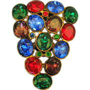Large 1930's Colorful Czech Glass Dress Clip