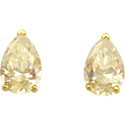 Sparkling 14K Pear Shaped CZ Pierced Earrings
