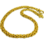 Stunning Italian Gold Over Sterling Byzantine Link Necklace- 18 Inches