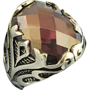 Bold Sterling Quilt Cut Garnet Red Glass Stone Ring- Size 11 3/4