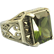 Intricate Sterling Men's Ring with Faceted Peridot Green Glass Stone- Size 10 1/4