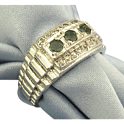 Vintage Men's Sterling Ring with Tourmaline & CZ