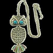Large Vintage Owl Pendant with Rhinestones & Enamel