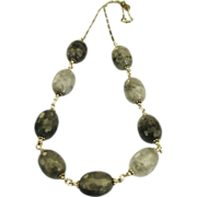 """Chunky """"Shades of Grey"""" Quartz & Sterling Necklace"""