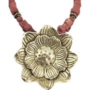Lovely Coral and Sterling Sun Flower Necklace