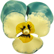 Vintage Enamel Dimensional Pansy Brooch with Faux Pearl