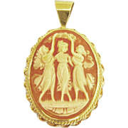 "Lovely 14K ""Three Graces"" Carved Shell Italian Cameo Pendant"
