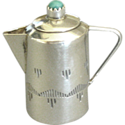 "Vintage Signed Sterling Miniature Coffee Pot- 1 1/4"" High"