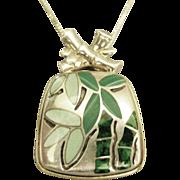 Lovely Enamel on Sterling Bamboo Pendant & 18: Chain
