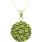 Gleaming Chunky Faux Peridot Sterling Pendant & Chain