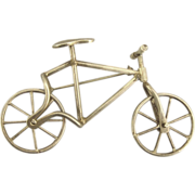 Vintage 1930's Sterling Mechanical Bicycle Brooch- Move-able Wheels