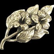 Vintage Danecraft Sterling Hibiscus Floral Spray Brooch