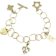 Open Link Sterling Charm Bracelet with Cupid, Heart, Flower & Fleur Di Lis