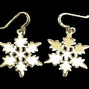 Lovely Sterling Snow Flake Pierced Earrings