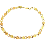 Feminine Yellow and Rose 14K Hearts and Flowers Bracelet