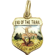"Vintage Enamel Sterling ""Trees of Mystery- End of the Trail"" Charm"