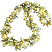 Vintage Chunky Double Strand Ocean Shell Necklace