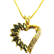 "Pretty Vintage Gold on Sterling Deep Blue Topaz Heart Pendant with 20"" Chain"