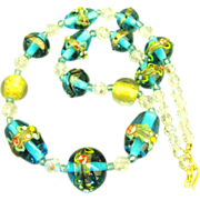 Italian Turquoise Murano Glass Wedding Cake Bead AB Crystal Necklace
