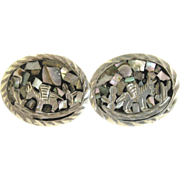 Vintage Inlaid Sterling Cuff Links- Eagle Mark, Mexico