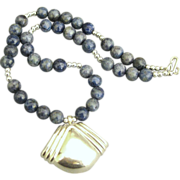 Stunning Signed Sterling Pendant and Sodalite Gemstone Bead Necklace