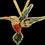 Vintage Enamel & Rhinestone Hummingbird Pendant- 18 Inch Chain