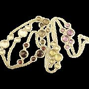 Lovely Gemstone Sterling Sautoir Necklace- Garnet, Amethyst, Quartz, & Citrine