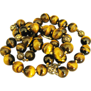 """Stunning Vintage Large Tiger's Eye 15 mm Bead with Sterling 30 """" Necklace"""