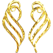 Graceful Vintage 14K Yellow Gold Earring Jackets