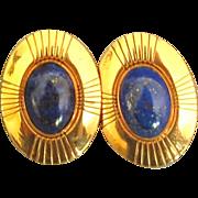 Lapis Lazuli on Copper Pierced Earrings