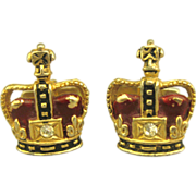 Vintage Enamel Crown Cuff Links with CZ