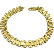 Attractive Vintage Signed Italian Sterling and Gold Plate Bracelet