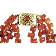 Stunning Vintage Carnelian 4 Strand Graduated Squared Bead Necklace with Ornate Sterling Clasp