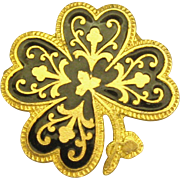 SALE Vintage Damascene 4 Leaf Clover Shape Brooch