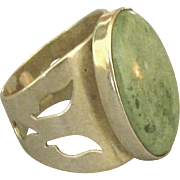 Fabulous Bold Signed Sterling Aventurine Ring