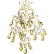 Beautiful 830 Silver Heart and Crown Brooch with Floral Dangles