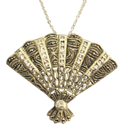 """Large Vintage Sterling Fan Brooch or Pendant with Pale Pink Rhinestones and 18"""" Chain"""