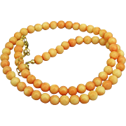 """Vintage Angel Skin Coral Bead with Sterling 20"""" Necklace"""