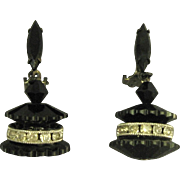 Signed Lewis Segal Black Glass Rhinestone Rondelle Dangle Earrings