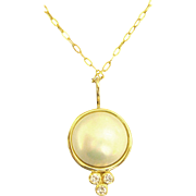 Lovely 14K Mabe Pearl and Diamond Pendant with Chain