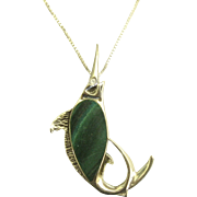 "Unique Sterling Sword Fish Pendant with Malachite on 20"" Box Chain"