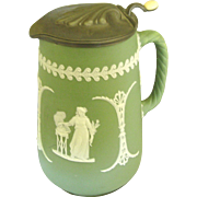 Large Late 1800's Green Wedgwood Pitcher with Pewter Lid