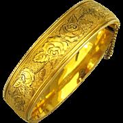 Signed Vintage 12K Gold Filled Hinged Bracelet with Roses
