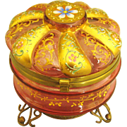 Bohemian Moser Floral Cranberry Glass Box with Ormolu Base