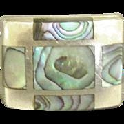 Beautiful Chunky Geometric Inlaid Abalone Sterling Ring- Size 9 1/2